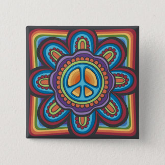 Hippie Peace Flower Pinback Button