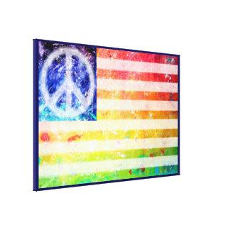 Hippie Peace Freak Flag Art Stretched Canvas Prints