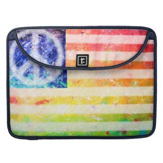 Hippie Peace Freak Flag Art Sleeve For MacBook Pro