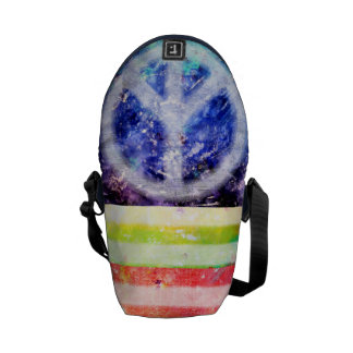 Hippie Peace Freak Flag Courier Bag
