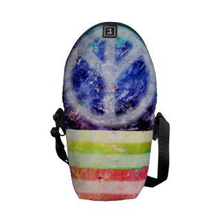 Hippie Peace Freak Flag Messenger Bags