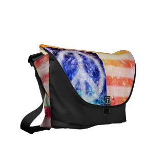 Hippie Peace Freak Flag Messenger Bag
