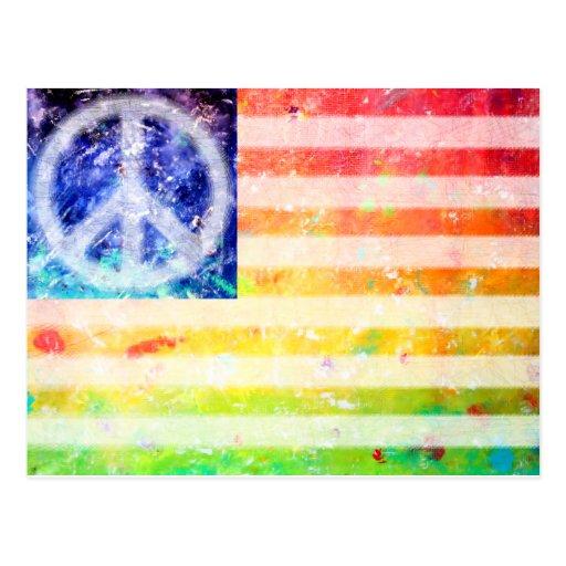 Hippie Peace Freak Flag Postcards