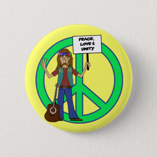 Hippie Peace Love and Unity Button