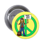 Hippie Peace Love and Unity Pinback Button