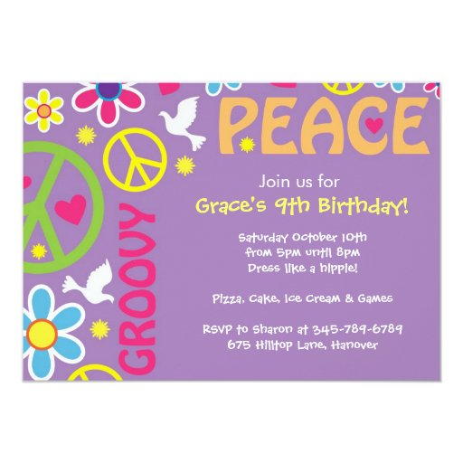 "Hippie, Peace Sign, 60's theme, party invites 5"" X 7"" Invitation Card"