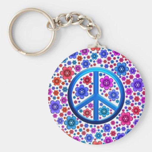 Hippie Peace Sign Basic Round Button Keychain