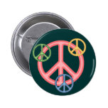 Hippie Peace Sign Button