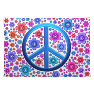 Hippie Peace Sign Cloth Placemat