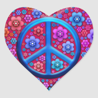 Hippie Peace Sign Heart Sticker