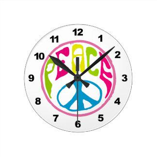 Hippie Peace Sign Round Clock