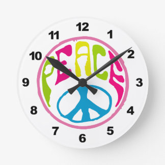 Hippie Peace Sign Round Wallclocks