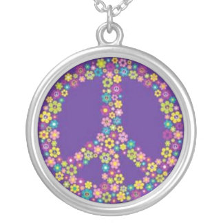 Hippie Peace Sign Symbol Silver Plated Necklace