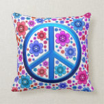 Hippie Peace Sign Throw Pillows