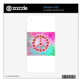 Hippie Peace Symbol Skins For iPhone 4S