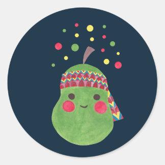 Hippie Pear Classic Round Sticker