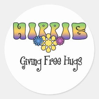 hippie pegatina redonda