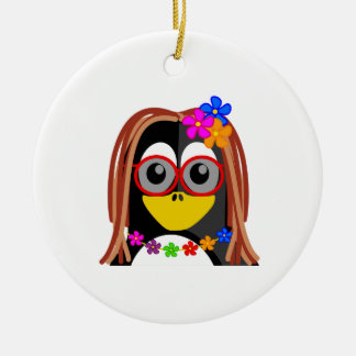Hippie Penguin Double-Sided Ceramic Round Christmas Ornament