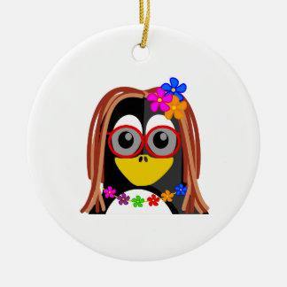 Hippie Penguin Christmas Ornaments