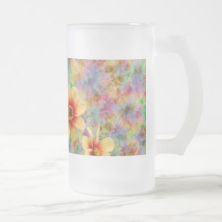 Hippie Psychedelic Flower Pattern Frosted Glass Beer Mug