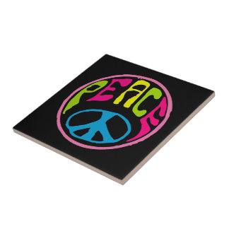 Hippie Psychedelic Peace Sign Tile
