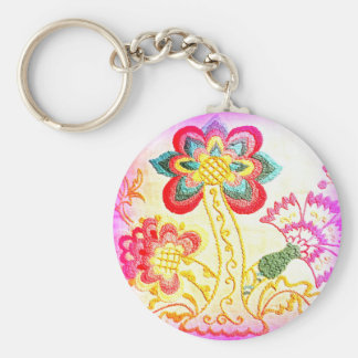hippie psychedelic pink palm tree key chain
