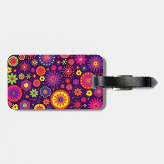 Hippie Purple Rainbow Flowers Bag Tag