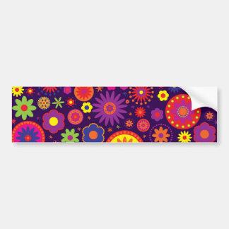 Hippie Purple Rainbow Flowers Bumper Sticker