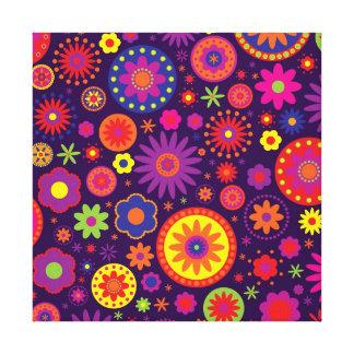 Hippie Purple Rainbow Flowers Canvas Print