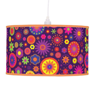 Hippie Purple Rainbow Flowers Ceiling Lamp
