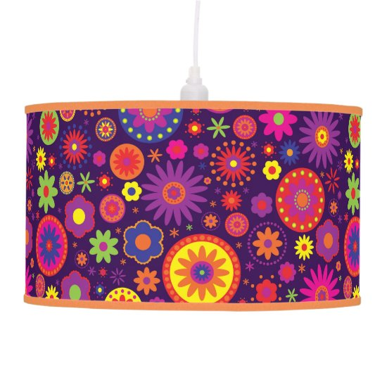 Hippie Purple Rainbow Flowers Ceiling Lamp