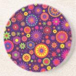 Hippie Purple Rainbow Flowers Drink Coasters