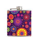 Hippie Purple Rainbow Flowers Flask
