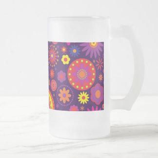 Hippie Purple Rainbow Flowers Frosted Glass Beer Mug