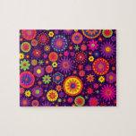 Hippie Purple Rainbow Flowers Jigsaw Puzzles