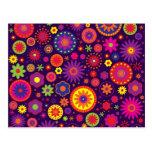 Hippie Purple Rainbow Flowers Post Card