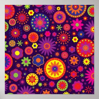Hippie Purple Rainbow Flowers Posters