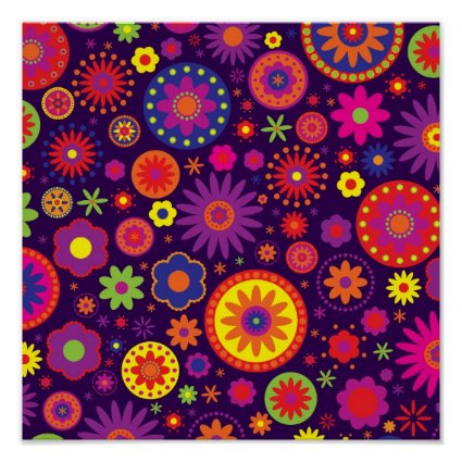 Hippie Purple Rainbow Flowers Poster