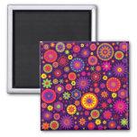 Hippie Purple Rainbow Flowers Refrigerator Magnets