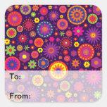 Hippie Purple Rainbow Flowers Square Sticker