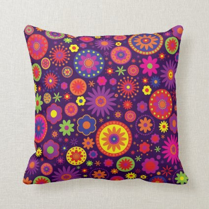 Hippie Purple Rainbow Flowers Throw Pillow