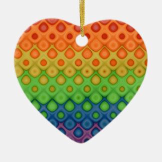 Hippie  Rainbow Bubbles Wedding Couple Keepsake Double-Sided Heart Ceramic Christmas Ornament