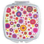 Hippie Rainbow Flower Pattern Compact Mirror