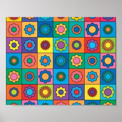 Hippie Rainbow Flower Pattern Poster