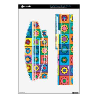 Hippie Rainbow Flower Pattern PS3 Console Skin