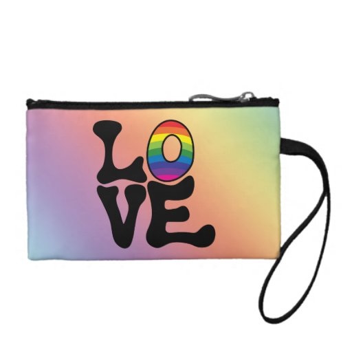 Hippie Rainbow Love Text Change Purses