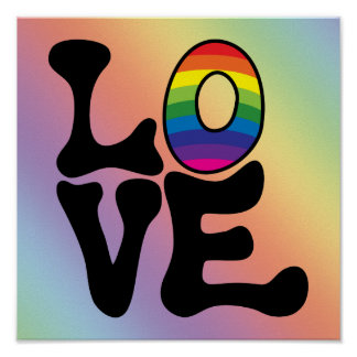 Hippie Rainbow Love Text Posters