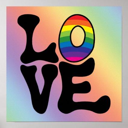 Hippie Rainbow Love Text Poster