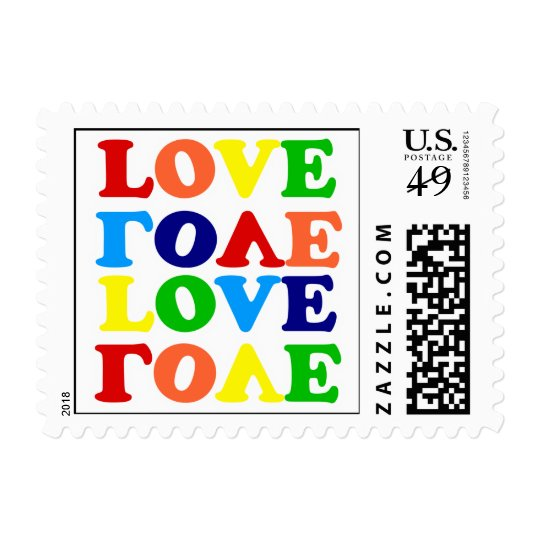 Hippie Rainbow Love Valentines Day Postage