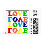 Hippie Rainbow Love Valentines Day Stamp